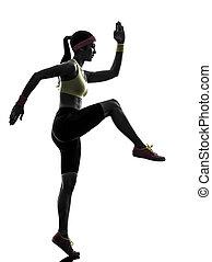 婦女, 行使, 測驗, 健身, 黑色半面畫像