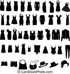 婦女, 衣服, 混雜, silho
