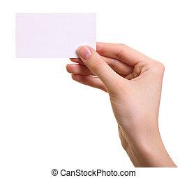 婦女, 被隔离, 手, 紙, 背景, 白色, 卡片