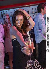 婦女, 酒吧, 年輕, 忙, 樂趣, 有