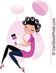 婦女, 頭髮, 美容院, 漂亮, 被隔离, 粉紅色, 白色