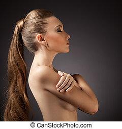 婦女, 頭髮, portrait., 布朗, 長, 美麗