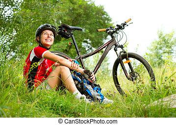 婦女, 騎馬, 愉快, 生活方式, 年輕, 自行車, 健康, 外面。