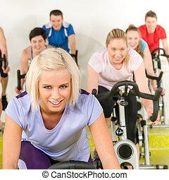 婦女, 體操, 年輕, 旋轉, 自行車, 健身