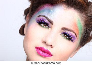婦女, 鮮艷, 化妝品, 創造性, 美麗