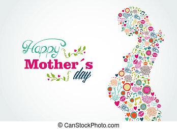 婦女, 黑色半面畫像, 母親, 怀孕, 插圖, 愉快