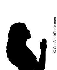 婦女, 黑色半面畫像, 祈禱, 關閉