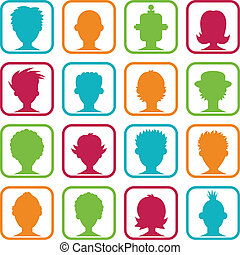 婦女, avatars, 鮮艷, 人