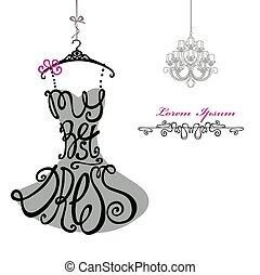 婦女, chandelier., 樣板, dress., 最好, silhouette., 詞, 衣服