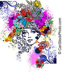 婦女, illustration., silhouette., 矢量, 設計, 植物, 元素, 上色