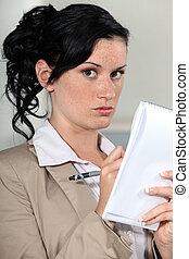 婦女, notepad, 年輕, 寫
