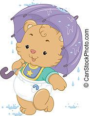 嬰孩, 傘, 熊