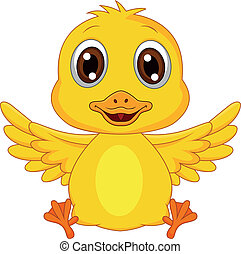 嬰孩, 卡通, 漂亮, 鴨子
