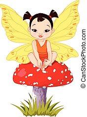 嬰孩, 漂亮, 仙女, 亞洲人, 蘑菇