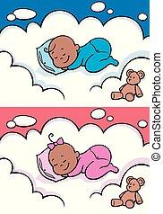 嬰孩, 黑色, 睡覺