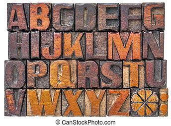 字母表, 摘要, 木頭, 類型