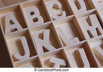 字母表, 木制, 集合, 英語, 箱子