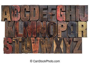 字母表, 木頭, 類型, letterpress