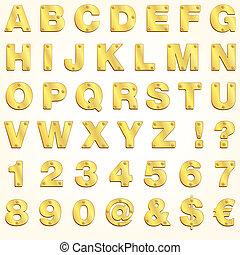 字母表, 金, 矢量, 黃金, 信