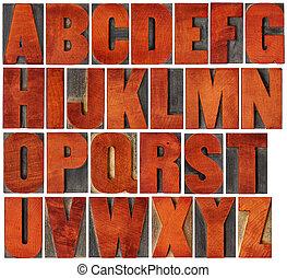 字母表, 集合, 類型, 木頭, letterpress