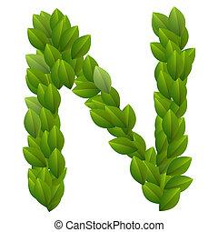 字母表, 離開, 綠色, 字母n