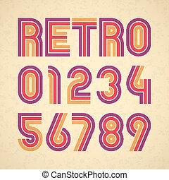 字母表, 風格, retro, 數字