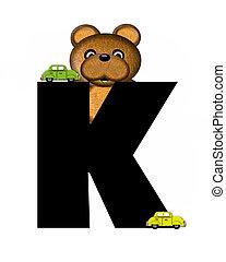 字母表, k, teddy, 開車, 汽車