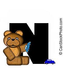 字母表, n, teddy, 開車, 汽車
