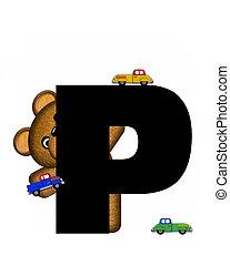 字母表, teddy, 開車, p, 汽車