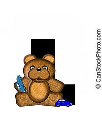 字母表, teddy, l, 開車, 汽車