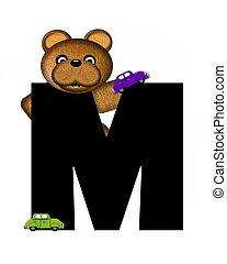 字母表, teddy, m, 開車, 汽車
