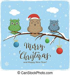 字母, 球, 被給上色背景, 貓頭鷹, 歡樂的聖誕節, 冬天