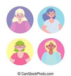 字, 婦女, 年輕, 肖像, 女性, 集合, 卡通