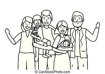 字, avatar, 家庭, 卡通