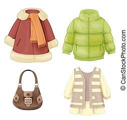 季節性, 衣服, 集合, 外套, 填塞, girls., 風雪大衣, 衣服