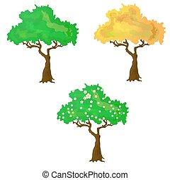 季節, 矢量, 彙整, 樹