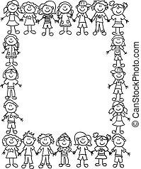 孩子, 友誼, border-outline