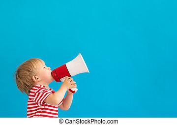 孩子, 呼喊, 擴音器, 背景, 愉快, 針對, 藍色