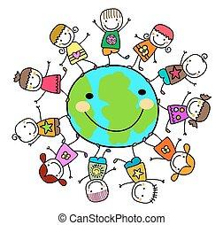 孩子, 大約, 行星地球, 玩, 愉快