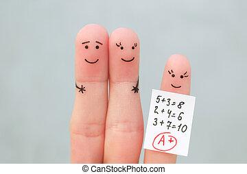 孩子, 概念, 好, 愉快, 得到, grade., family., 藝術, 手指