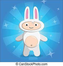 孩子, 矢量, 兔子, 插圖, 衣服