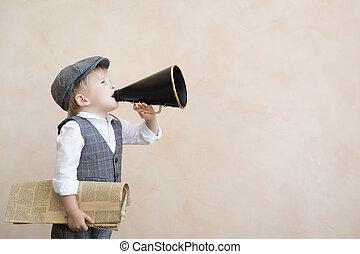 孩子, 透過, 呼喊, 葡萄酒, 擴音器