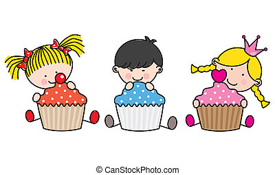 孩子, cupcakes., 上色
