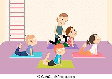 孩子, instructor., 瑜伽