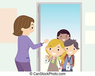 學校孩子, stickman, 顯示, 插圖, 進入