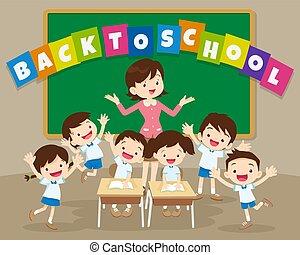 學校教師, 背, 小學生
