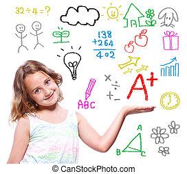 學校, 主題, 寫, 女孩, 手