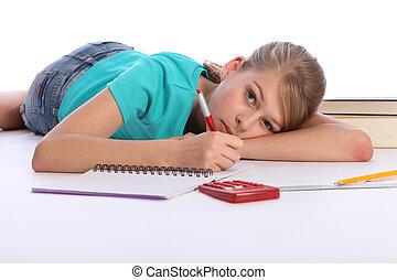 學校, 地板, 主要, 數學, 女孩, 家庭作業