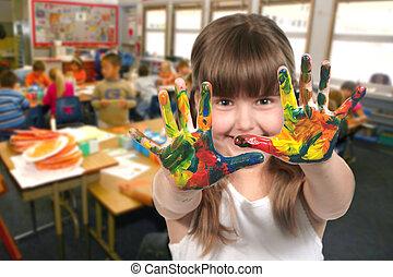 學校, 她, 年齡, 手, 孩子繪畫, 類別