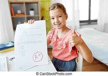 學校, 好, 馬克, 學生, 測試, 家, 女孩